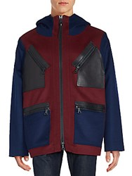 Valentino Hooded Leather Detailed Coat Red Multi
