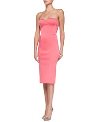 Zac Posen Strapless Sweetheart Fitted Cocktail Dress Coral