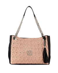 Valentino By Mario Valentino Verra D Quilted Two Tone Leather Tote Bag Pink Black