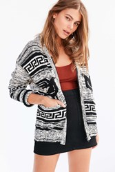 Obey Eirine Zip Up Cardigan Sweater Black And White