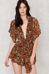 Nasty Gal Leopard To Say Goodbye Plunging Romper