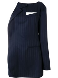Jacquemus Pinstriped Suit Style Dress Blue