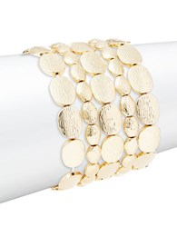 Panacea Multi Row Stretch Disc Bracelet Goldtone