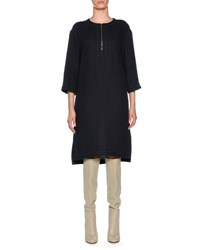 Agnona Round Zip Neck Linen Blend Dress Navy