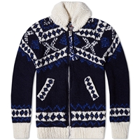 Chamula Fair Isle Zipper Cardigan Navy