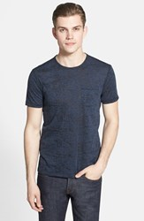John Varvatos Men's Star Usa Burnout Trim Fit T Shirt Blue Heather