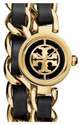 Tory Burch 'Mini Reva' Double Wrap Chain Watch 20Mm Black Gold
