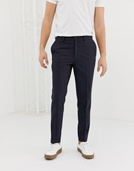 Selected Homme Tapered Smart Trouser In Grid Print Navy