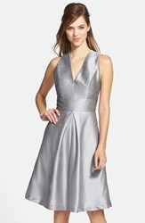 Women's Alfred Sung V Neck Dupioni Cocktail Dress Quarry