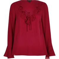 River Island Womens Dark Red Frill V Neck Blouse