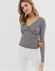 Hollister Tiny Crop Top With Ruching Black