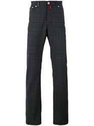 Kiton Checked Chinos Men Nylon Spandex Elastane Wool 33 Grey