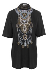 Topshop Crochet Necklace T Shirt By Jaded London Black