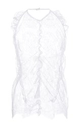 Carven Lace Chantilly Halter Top White