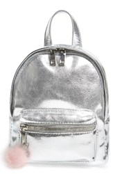 Bp. Faux Leather Mini Backpack Metallic Silver