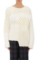 Tomorrowland Cable Knit And Boucle Sweater White