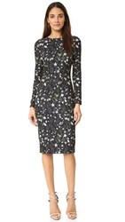 Cynthia Rowley Praire Floral Sheath Dress Black White Green