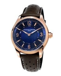 Frederique Constant 42Mm Horological Smart Watch With Leather Strap Brown Blue