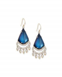 Alexis Bittar Crystal Lace Chandelier Earrings Blue Velvet