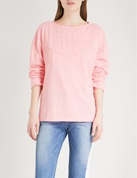 Sjyp Logo Embroidered Cotton Jersey Jumper Pink
