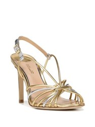 Diane Von Furstenberg Milena Leather High Heel Sandals Gold Silver
