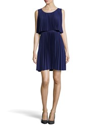 Halston Heritage Scoop Neck Plisse Cocktail Dress Astral Blue