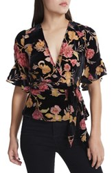 Afrm 'S Lula Wrap Top Flower Burnout