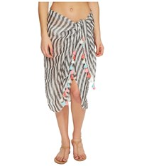 Seafolly Linen Block Stripe Sarong Cover Up Black Scarves