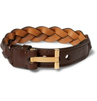 Tom Ford Woven Leather And Gold Plated Bracelet Dark Brown