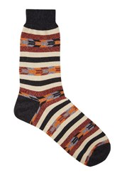 Anonymous Ism Striped Cotton Blend Socks Brown