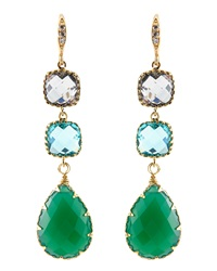 Indulgems Green Onyx And Glass 3 Drop Earrings
