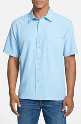 Men's Quiksilver Waterman Collection 'Centinela 4' Short Sleeve Sport Shirt Azure
