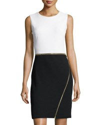 Neiman Marcus Zipper Trim Colorblock Sheath Dress White Black