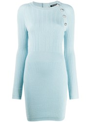 Balmain Button Embellished Fitted Dress Blue