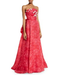 Carolina Herrera Strapless Floral Embroidered Tie Back Gown Red Pink