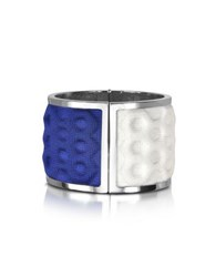 Avril Palladium Plated Brass And White And Blue Viscose Bangle