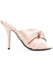 N 21 No21 Knotted Stiletto Mules Nude And Neutrals
