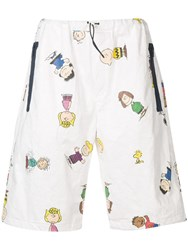 Lc23 Cartoon Print Shorts White