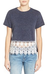 Junior Women's Artee Couture Crochet Hem Tee Navy