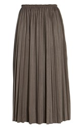 Moon River Pleated Faux Suede Midi Skirt Olive