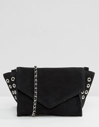 Pieces Cross Body Bag With Eyelet Detail Black