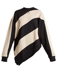 Marques Almeida Asymmetric Hem Striped Cotton Sweatshirt Black Multi