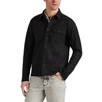 Barneys New York Double Faced Wool Blend Felt Shirt Jacket Charcoal