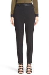 The Kooples Women's Leather Trim Stretch Wool Pants
