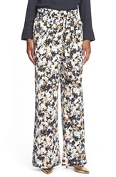 Leith Pleated Floral Print Flare Pants Ivory Egret Multi Floral