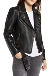 Vigoss Faux Leather Vintage Moto Jacket Black Brown