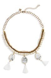 Panacea Bead And Tassel Collar Necklace White
