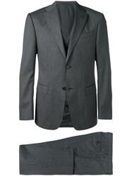 Z Zegna Three Piece Fitted Suit Grey