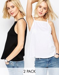 Asos Vest In Swing Shape With Square Neck 2 Pack Save 10 White And Black