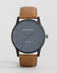 Bellfield Tan Watch With Round Black Dial Brown